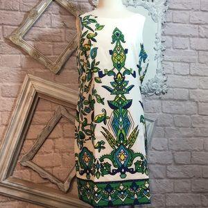 Kim Rogers Shift Dress Cubism Print Vibrant Chic